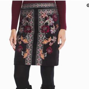 WHBM 2 Embroidered Floral Black Velvet Skirt